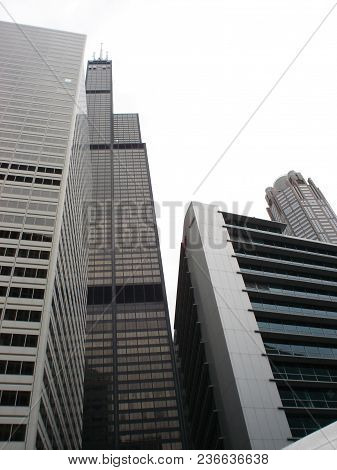 Willis Tower (formerly Sears Tower) As Seen From The Chicago River, Chicago, Il September 20, 2009