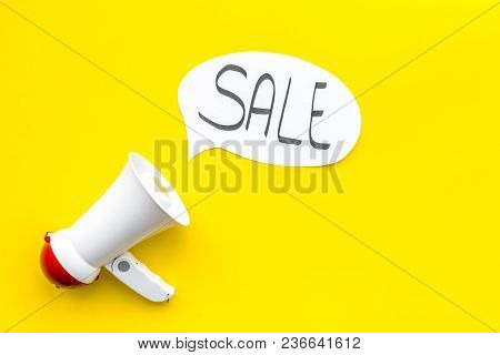 Sale Concept With Megaphone. Declare The Sale. Electronic Megaphone Near Word Sale In Cloud On Yello
