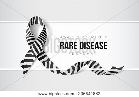 Banner With Rare Disease Awareness Realistic Ribbon. Design Template For Websites Magazines