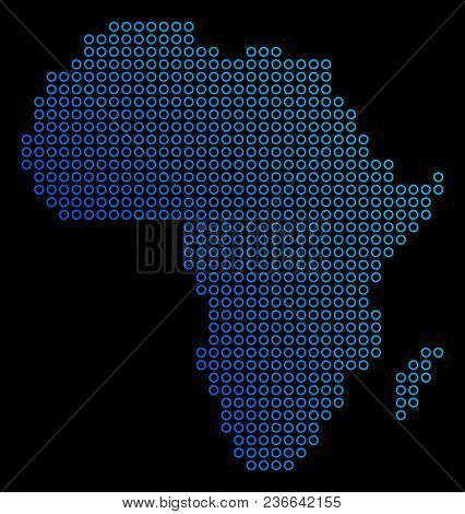 Round Dot Africa Map. Vector Geographic Map In Blue Gradient Colors On A Black Background. Vector Co