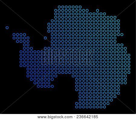 Round Dot Antarctica Map. Vector Geographic Map In Blue Gradient Colors On A Black Background. Vecto