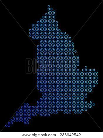 Round Dot England Map. Vector Geographic Map In Blue Gradient Colors On A Black Background. Vector P