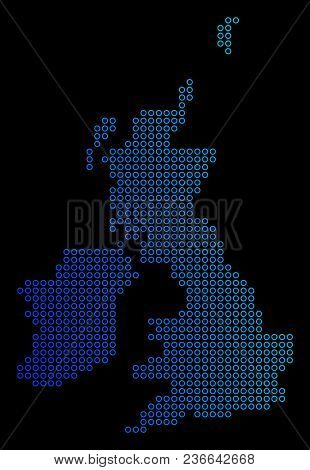 Round Dot Great Britain And Ireland Map. Vector Geographic Map In Blue Gradient Colors On A Black Ba