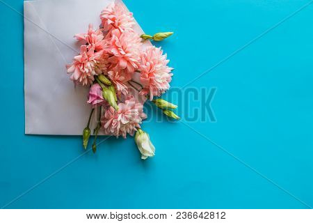 Flowers, Card With Envelope On Table. Mothers Day, Birthday, Valentines Day, Womens Day, Celebration