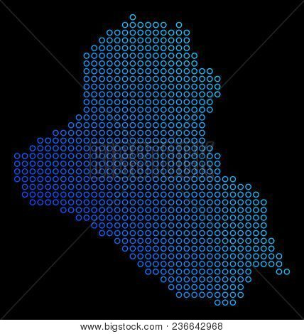 Round Dot Iraq Map. Vector Geographic Map In Blue Gradient Colors On A Black Background. Vector Comp