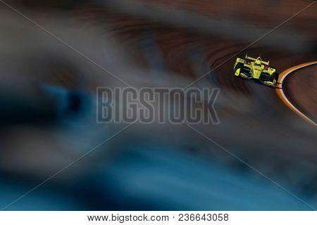 April 06, 2018 - Avondale, Arizona, USA: Simon Pagenaud (22) dives into turn 1 during practice for the Desert Diamond West Valley Casino Phoenix Grand Prix at ISM Raceway in Avondale, Arizona.