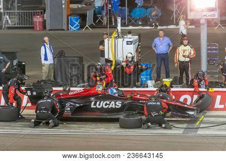 April 07, 2018 - Avondale, Arizona, USA: Robert Wickens (6) brings his car down pit road for service at the Desert Diamond West Valley Casino Phoenix Grand Prix at ISM Raceway in Avondale, Arizona.