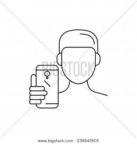 Man With Phone Make Selfie. Outline Man With Phone Make Selfie Vector Illustration For Web Design Is
