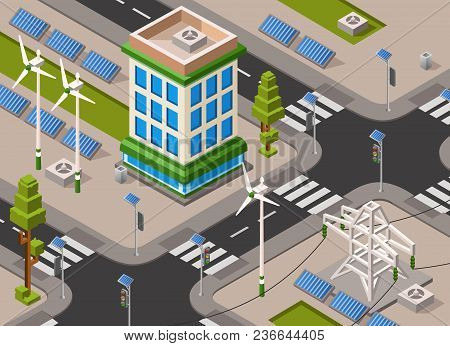 Vector Isometric Solar And Wind Energy City Street. 3d Illustration With Renewable Alternative Elect