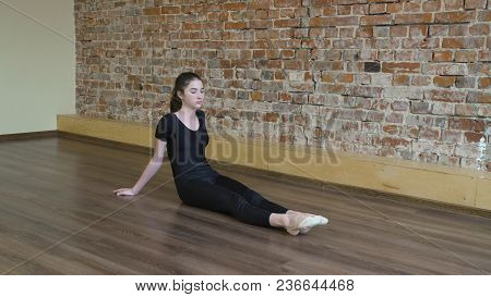 Sport Fitness. Yoga Gymnastics. Workout Training. Young Fit Teenage Girl Warming Up And Stretching T