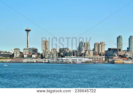 Seattle, Washington, September 14, 2017,  Waterfront Views Of The City And The Iconic Space Needle