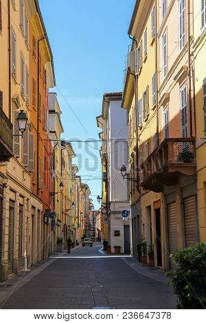 Piacenza, Italy - August 7, 2016: Narrow Old Street Of Historic City Centre