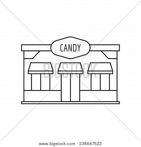 Candy Store Front Icon. Outline Candy Store Front Vector Icon For Web Design Isolated On White Backg