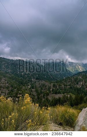 A Mountain Storm And Fog Rolls In Over California Mountains