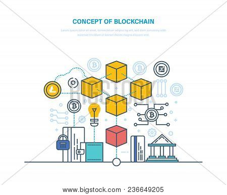 Concept Of Blockchain. Database With Transactions, Technological Process Of User Identification, Dig