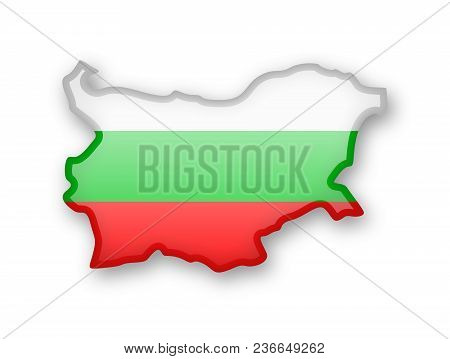 Bulgaria Flag And Outline Of The Country On A White Background.