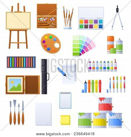 Set Of Various Tools And Accessories For Drawing, Artists. Easel, Set Of Brushes And Watercolors, Li