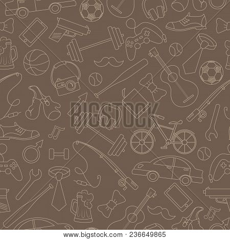 Seamless Pattern On The Theme Of Male Hobbies And Habits,simple Hand-drawn Beige Outline On A Brown