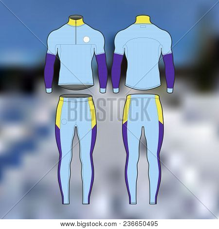 Professional Sports Uniform For Cross-country Skiing. Isolated Image. For Posters, Banners And Other