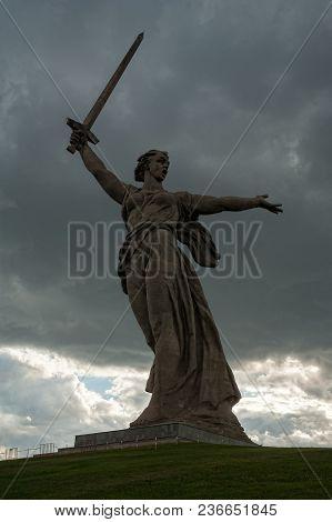 Volgograd, Russia - July 10, 2017: Motherland Calls Monument. Memorial Complex Mamayev Kurgan. Total
