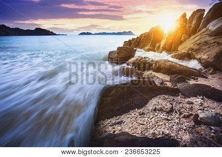 Beautiful Sea Scape Of Nyang Oo Phee Island Most Popular Traveling Destination In Southern Of Myanma