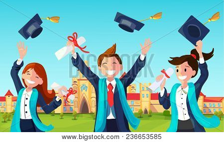 Students With Congratulations Throwing Graduation Hats In Air Celebrating. Vector Illustration Of Ba