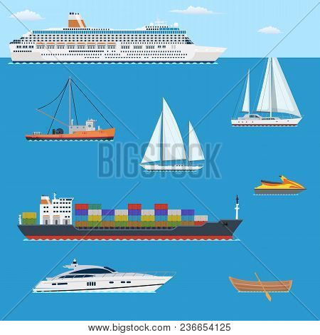 Set Of Flat Yacht, Scooter, Boat, Cargo Ship, Fishing Boat, Vessel, Pleasure Boat, Cruise Ship With