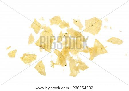 Potato Chips Crumbs And Leftovers Isolated Over The White Background.
