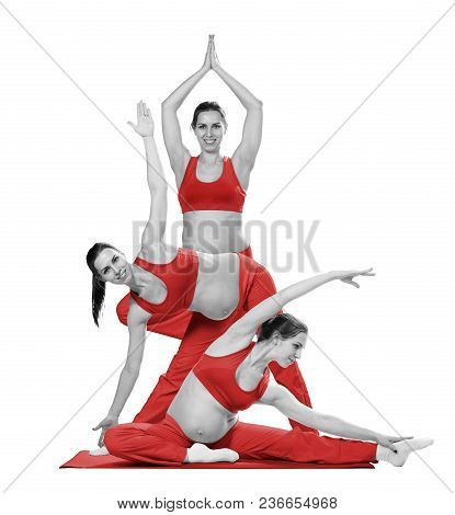 Active Pregnant Woman Doing Gymnastic Exercise During Workout For Light Childbirth Preparing, Isolat
