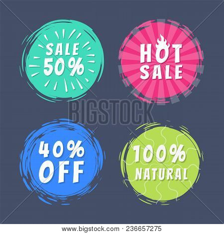 Sale 50 Best Hot Choice Special Offer Promo100 Natural Stickers Round Labels Brush Strokes Vector Il