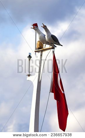 Two Seagull On Boat Mast With Turkish Flag At Sun Cloudy Evening