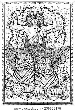 Tiger Symbol In Frame. Chariot With Athletic Man, Tiger Beasts And Mystic Signs. Fantasy Engraved Il