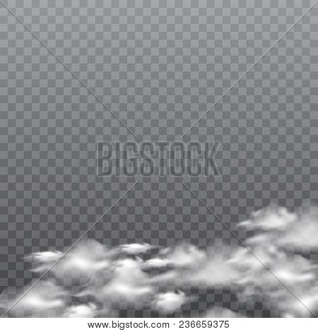 Realistic Fog Or Smoke On Transparent Background. Vector