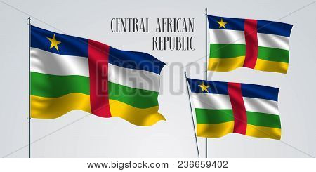 Central African Republic Waving Flag Set Of Vector Illustration. Yellow Green Colors Of Central Afri