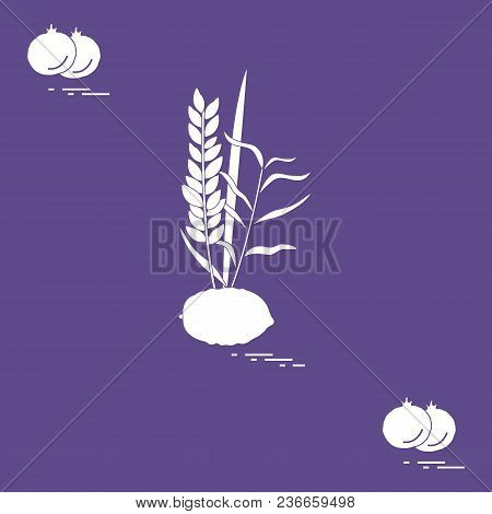 Pomegranate And Lulav - Symbolic Attribute Of The Holiday Of Sukkot. Jewish Traditions And Symbols.