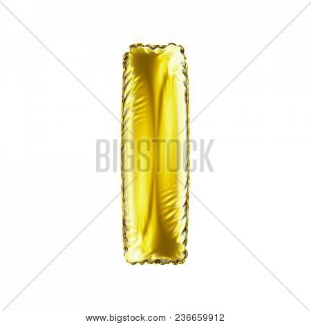 Golden letter I made of inflatable balloon isolated on white background. 3d rendering
