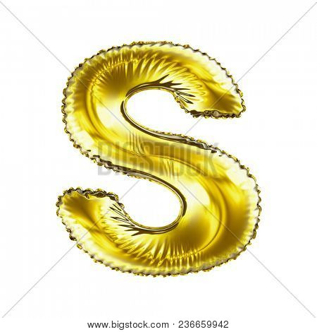 Golden letter S made of inflatable balloon isolated on white background. 3d rendering