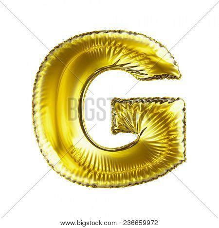 Golden letter G made of inflatable balloon isolated on white background. 3d rendering