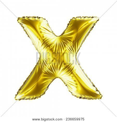 Golden letter X made of inflatable balloon isolated on white background. 3d rendering