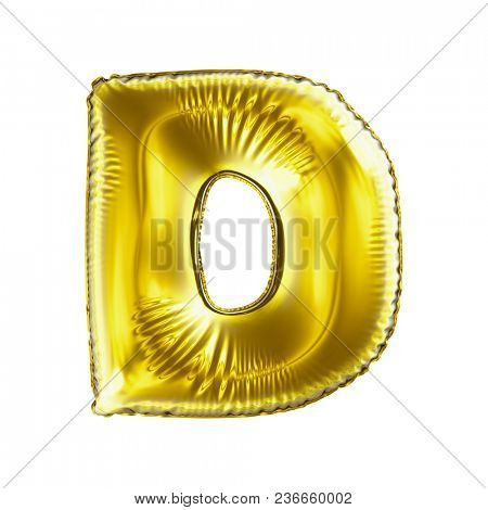 Golden letter D made of inflatable balloon isolated on white background. 3d rendering
