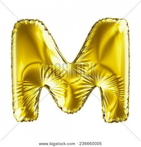 Golden letter M made of inflatable balloon isolated on white background. 3d rendering