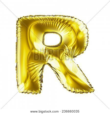 Golden letter R made of inflatable balloon isolated on white background. 3d rendering