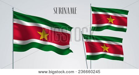 Suriname Waving Flag Set Of Vector Illustration. Yellow Red Colors Of Suriname Wavy Realistic Flag A