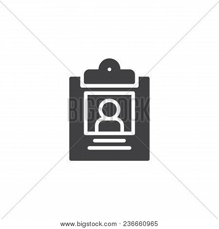 Id Card Vector Icon. Filled Flat Sign For Mobile Concept And Web Design. Badge Simple Solid Icon. Sy