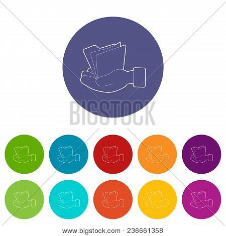 Hand Holding File Folder Icons Color Set Vector For Any Web Design On White Background