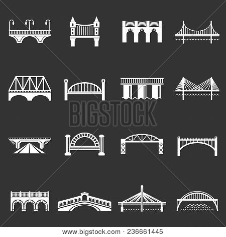 Bridge Icons Set Vector White Isolated On Grey Background