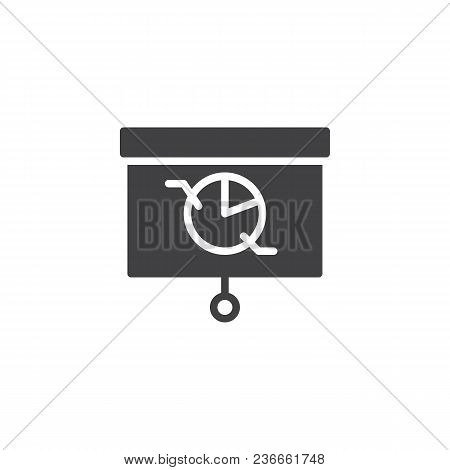 Presentation Screen With Pie Chart Vector Icon. Filled Flat Sign For Mobile Concept And Web Design.