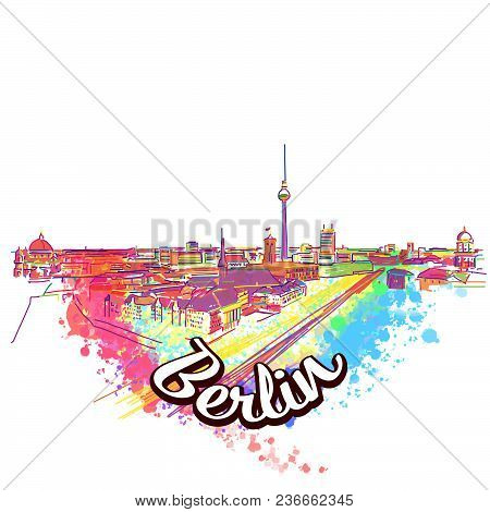 Berlin Skyline Drawing Art Concept. Hand Drawn Vector Illustration. Travel The World Concept Image F