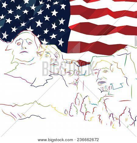Mount Rushmore Banner Concept Art. Hand Drawn Skyline Illustration. Travel The World Concept Vector