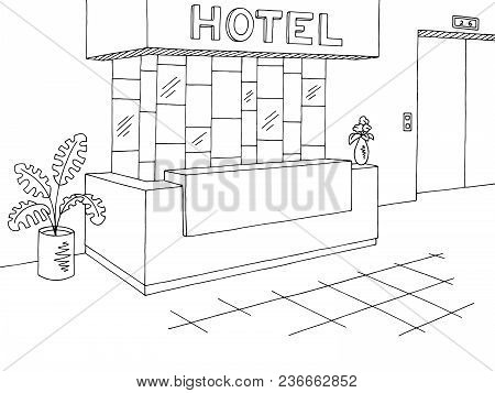 Hotel Reception Lobby Interior Graphic Black White Sketch Illustration Vector